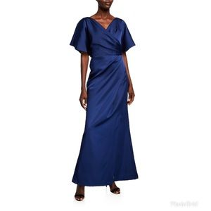 JS Collections Faux Wrap Bonded Satin Navy Gown